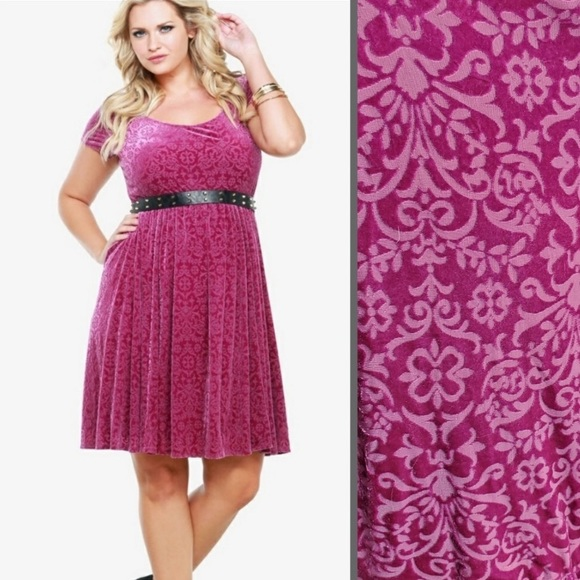 Torrid pink purple burnout velvet paisley dress 3